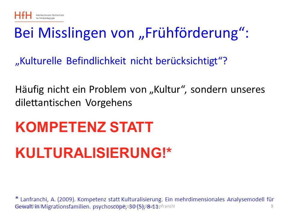 15. April 2013HfH, Prof. Dr. Andrea Lanfranchi Bei Misslingen von Frühförderung: Kulturelle Befindlichkeit nicht berücksichtigt? Häufig nicht ein Prob