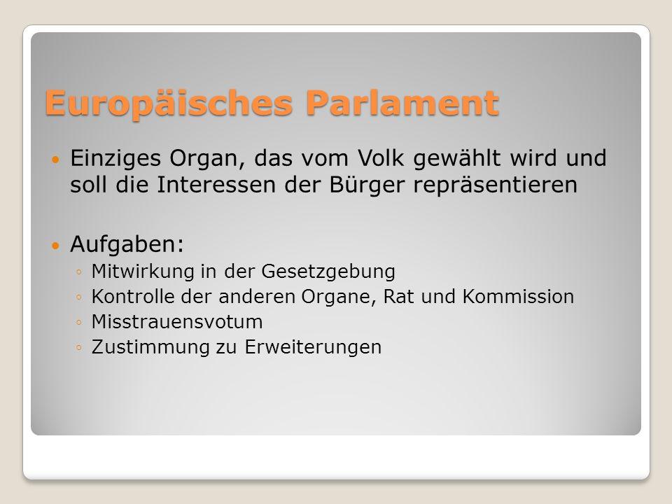 Einziges Organ, das vom Volk gewählt wird und soll die Interessen der Bürger repräsentieren Aufgaben: Mitwirkung in der Gesetzgebung Kontrolle der and