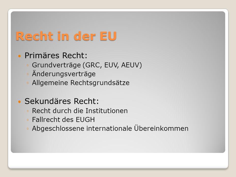 Recht in der EU Primäres Recht: Grundverträge (GRC, EUV, AEUV) Änderungsverträge Allgemeine Rechtsgrundsätze Sekundäres Recht: Recht durch die Institu