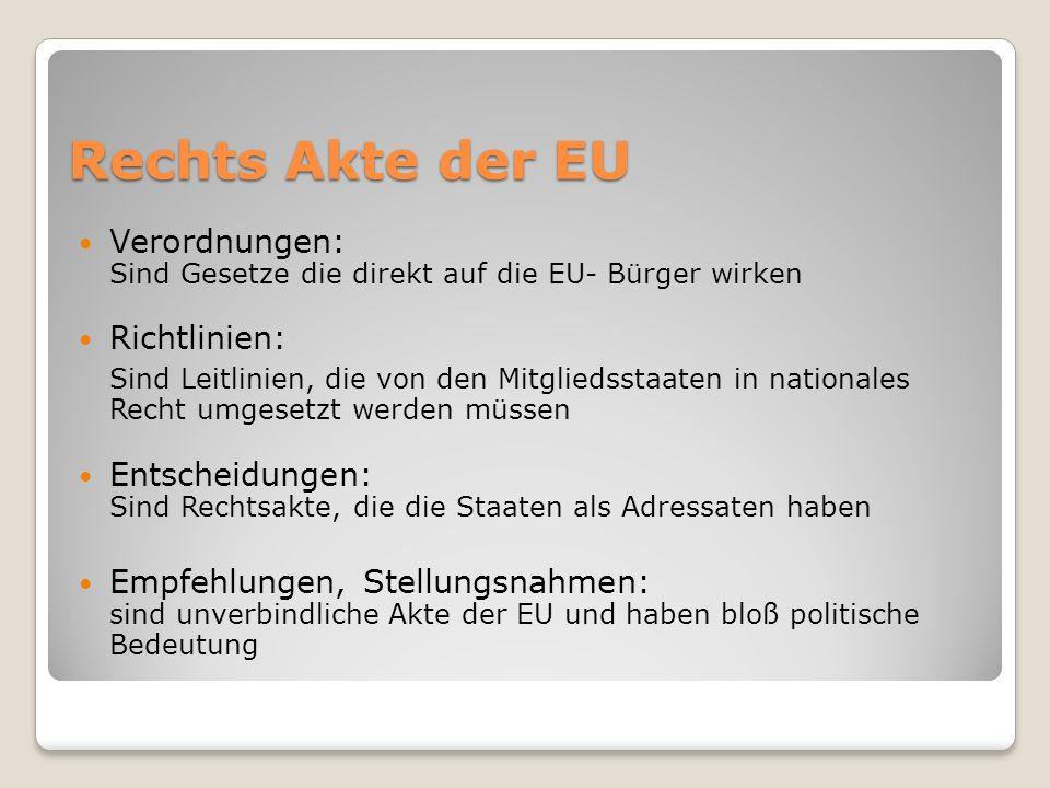 Rechts Akte der EU Verordnungen: Sind Gesetze die direkt auf die EU- Bürger wirken Richtlinien: Sind Leitlinien, die von den Mitgliedsstaaten in natio