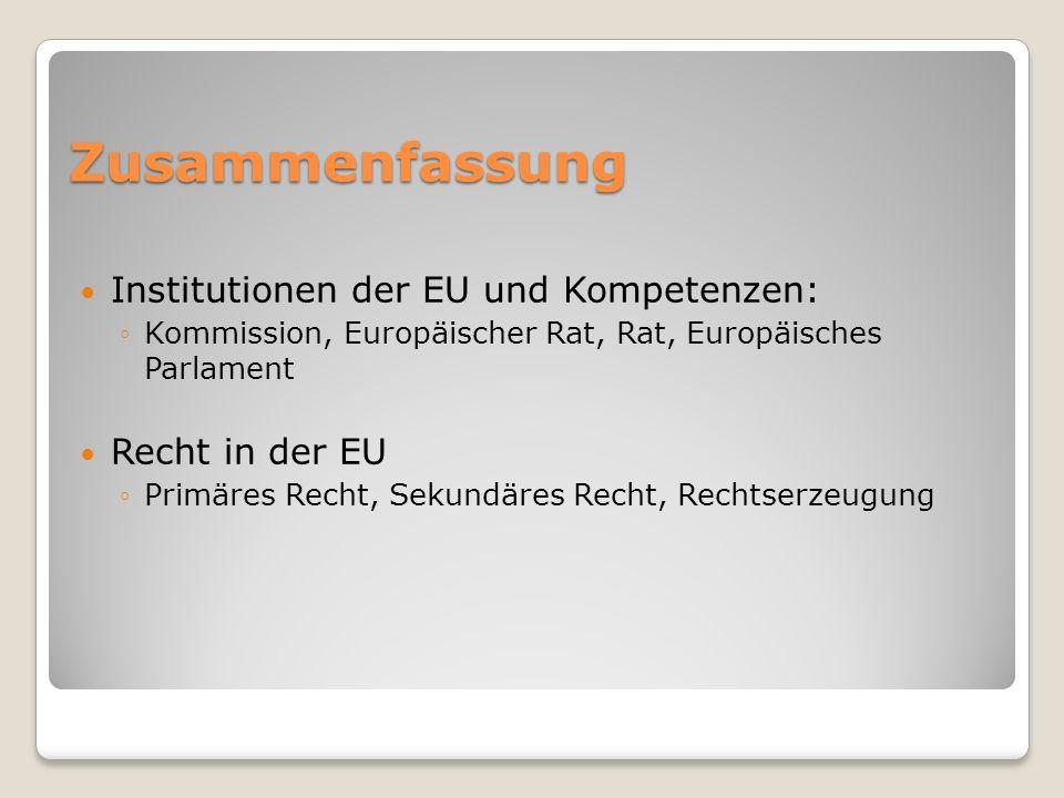 Zusammenfassung Institutionen der EU und Kompetenzen: Kommission, Europäischer Rat, Rat, Europäisches Parlament Recht in der EU Primäres Recht, Sekund