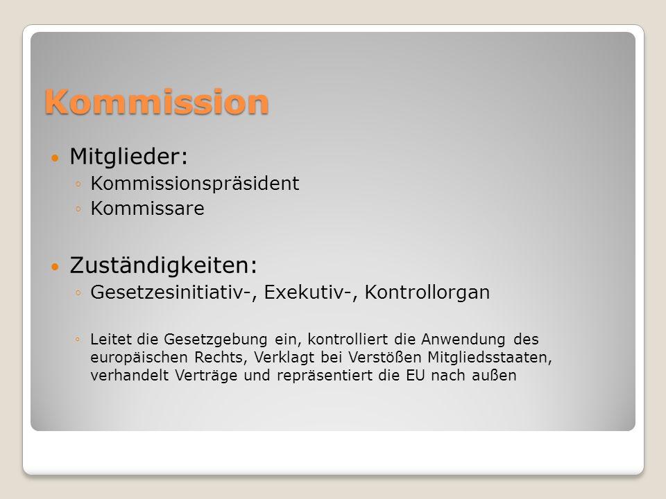 Kommission Mitglieder: Kommissionspräsident Kommissare Zuständigkeiten: Gesetzesinitiativ-, Exekutiv-, Kontrollorgan Leitet die Gesetzgebung ein, kont