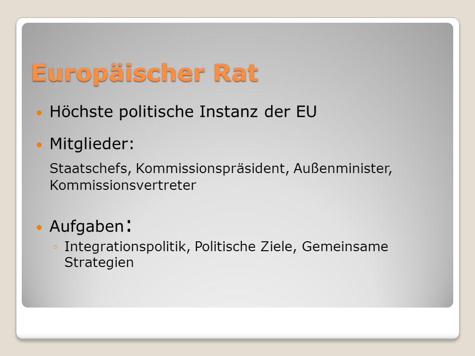 Europäischer Rat Höchste politische Instanz der EU Mitglieder: Staatschefs, Kommissionspräsident, Außenminister, Kommissionsvertreter Aufgaben : Integ