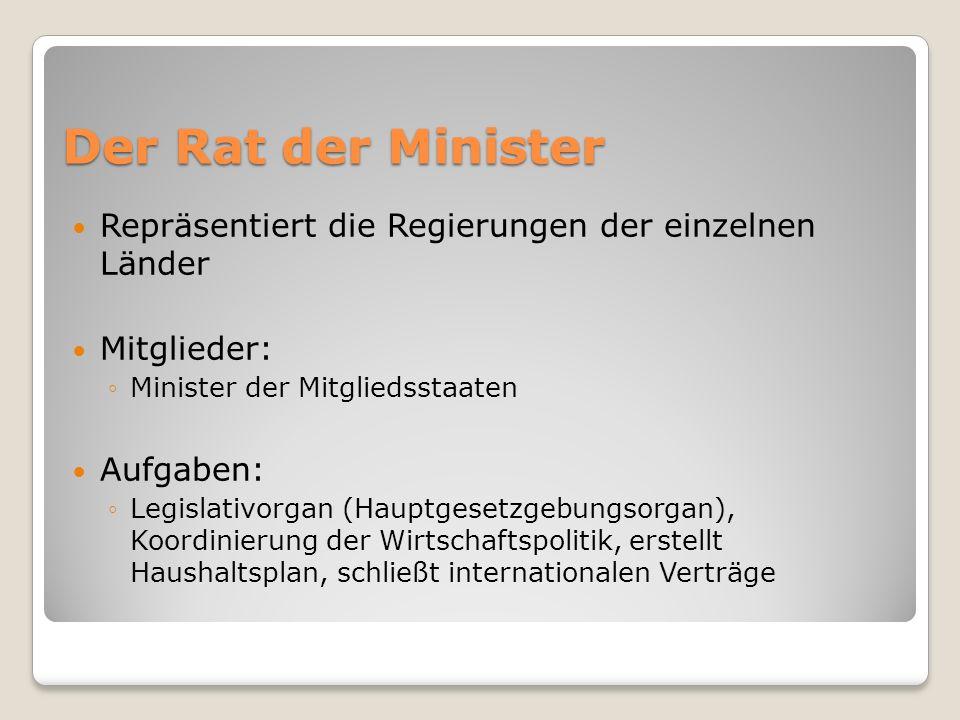 Der Rat der Minister Repräsentiert die Regierungen der einzelnen Länder Mitglieder: Minister der Mitgliedsstaaten Aufgaben: Legislativorgan (Hauptgese