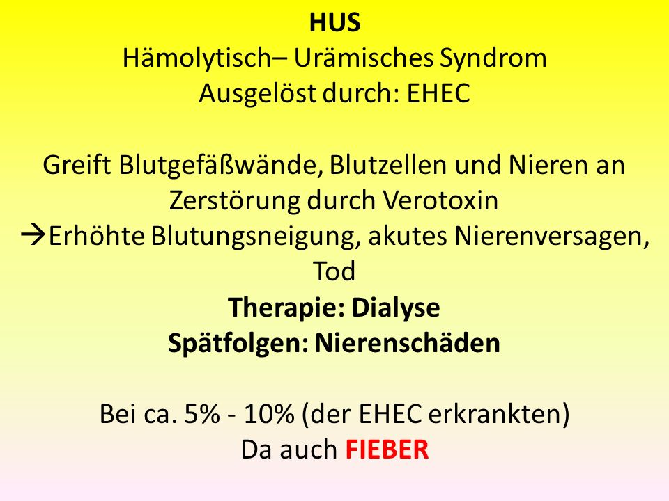 Symptome Inkubationszeit: Ca. 8 Tage Bauchschmerzen HUS Erbrechen Ohne HUS kein Fieber HUS Hämolytisch– Urämisches Syndrom Ausgelöst durch: EHEC Greif