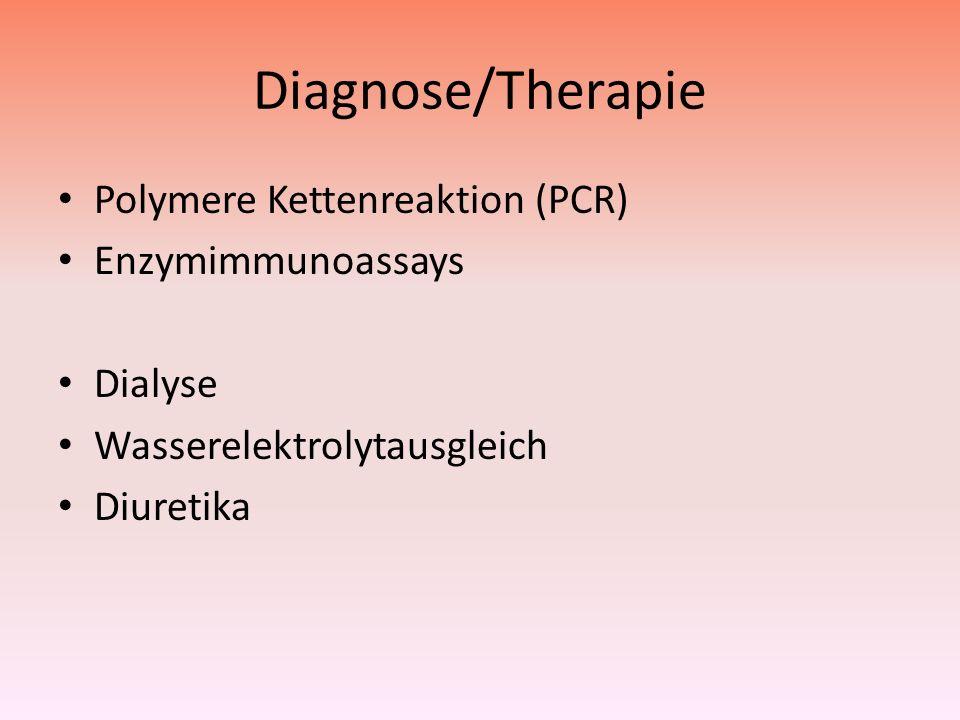 Diagnose/Therapie Polymere Kettenreaktion (PCR) Enzymimmunoassays Dialyse Wasserelektrolytausgleich Diuretika