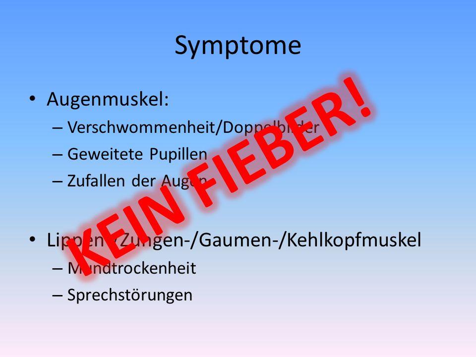 Symptome Augenmuskel: – Verschwommenheit/Doppelbilder – Geweitete Pupillen – Zufallen der Augen Lippen-/Zungen-/Gaumen-/Kehlkopfmuskel – Mundtrockenhe