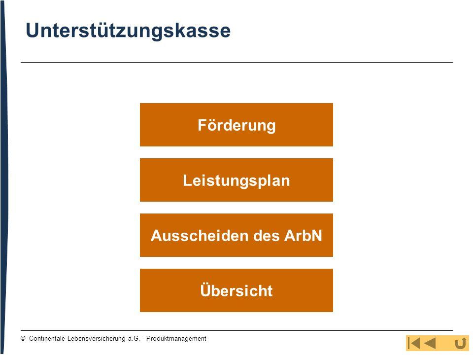105 © Continentale Lebensversicherung a.G. - Produktmanagement Leistungsplan Übersicht Ausscheiden des ArbN Förderung Unterstützungskasse