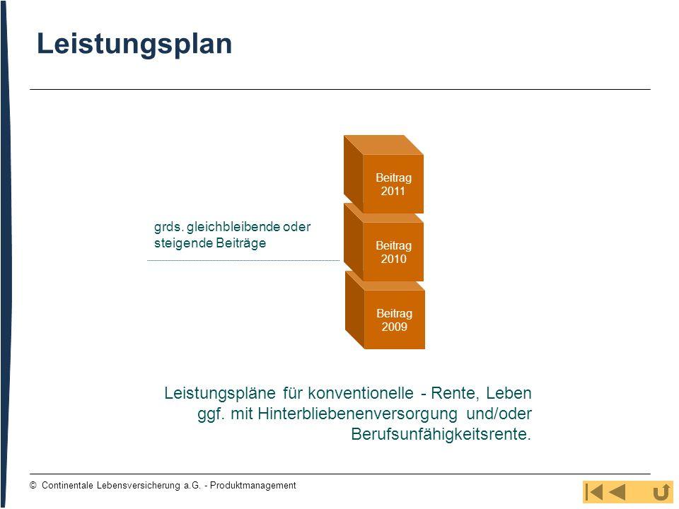 108 © Continentale Lebensversicherung a.G. - Produktmanagement Leistungsplan grds. gleichbleibende oder steigende Beiträge Beitrag 2009 Beitrag 2010 B