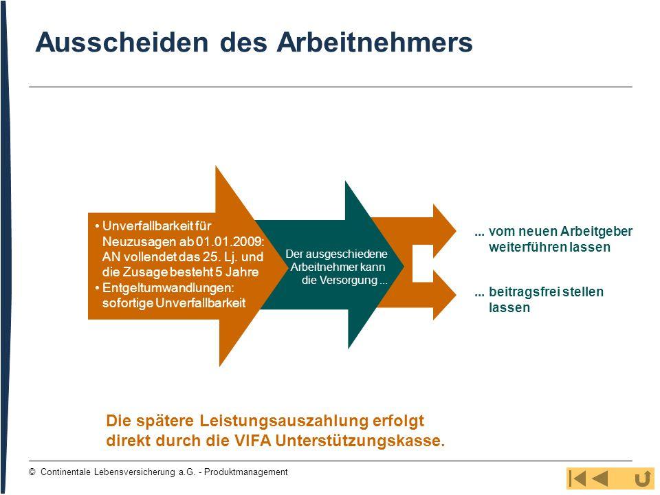 109 © Continentale Lebensversicherung a.G. - Produktmanagement Ausscheiden des Arbeitnehmers Die spätere Leistungsauszahlung erfolgt direkt durch die
