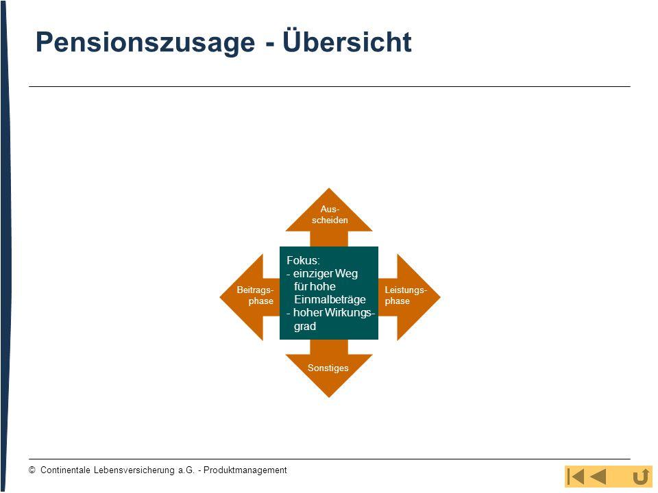 125 © Continentale Lebensversicherung a.G. - Produktmanagement Beitrags- phase Aus- scheiden Leistungs- phase Sonstiges Pensionszusage - Übersicht Fok