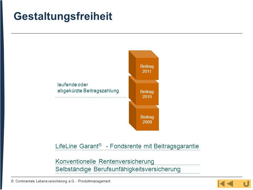 15 © Continentale Lebensversicherung a.G. - Produktmanagement Gestaltungsfreiheit laufende oder abgekürzte Beitragszahlung Beitrag 2009 Beitrag 2010 B