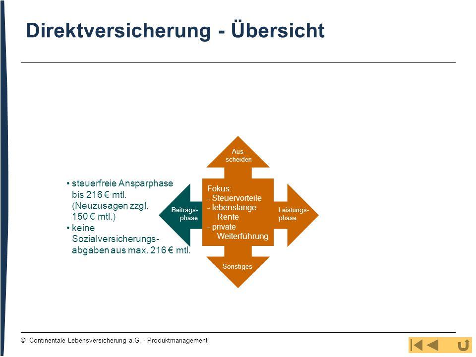 19 © Continentale Lebensversicherung a.G. - Produktmanagement Direktversicherung - Übersicht Beitrags- phase Aus- scheiden Leistungs- phase Sonstiges