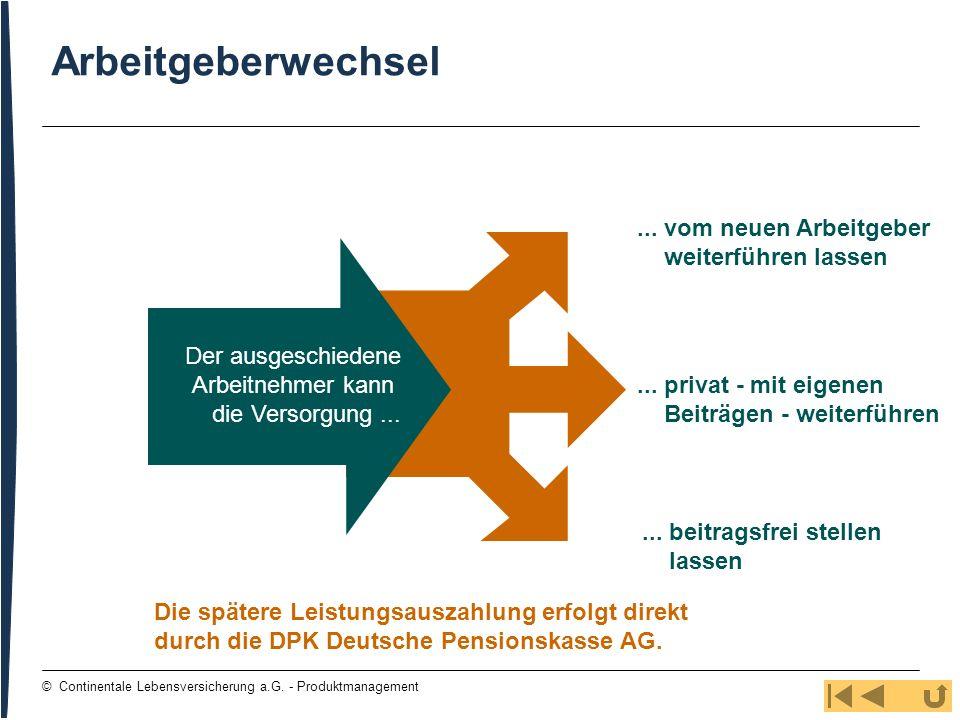 30 © Continentale Lebensversicherung a.G. - Produktmanagement Arbeitgeberwechsel... vom neuen Arbeitgeber weiterführen lassen... privat - mit eigenen