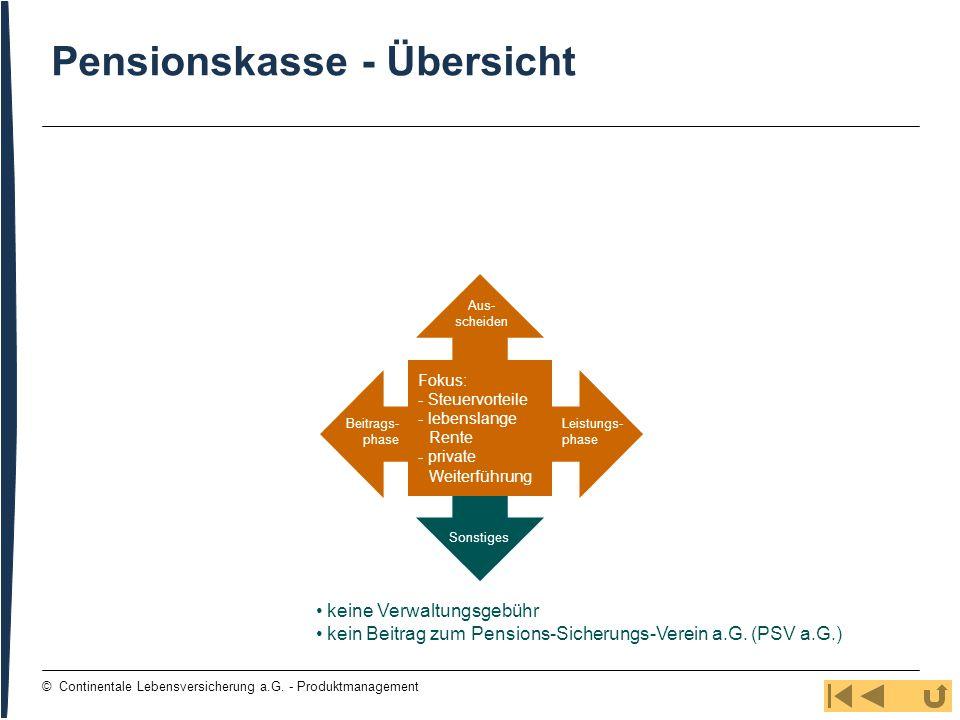 36 © Continentale Lebensversicherung a.G. - Produktmanagement Pensionskasse - Übersicht keine Verwaltungsgebühr kein Beitrag zum Pensions-Sicherungs-V