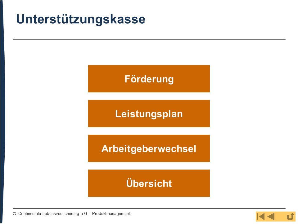 40 © Continentale Lebensversicherung a.G. - Produktmanagement Leistungsplan Übersicht Arbeitgeberwechsel Förderung Unterstützungskasse