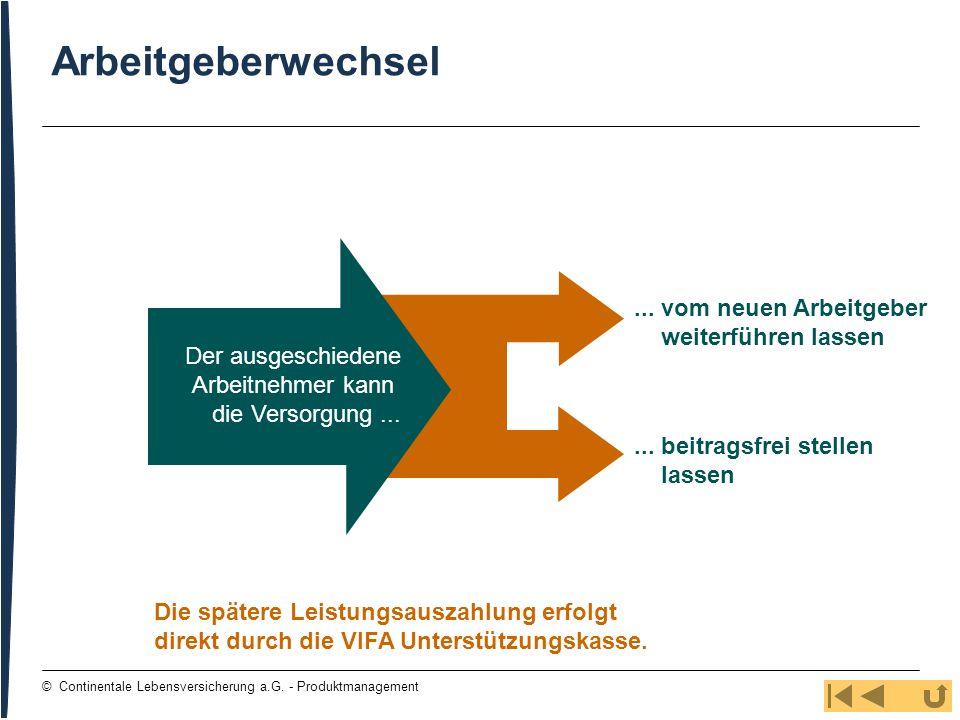 44 © Continentale Lebensversicherung a.G. - Produktmanagement Arbeitgeberwechsel... vom neuen Arbeitgeber weiterführen lassen... beitragsfrei stellen