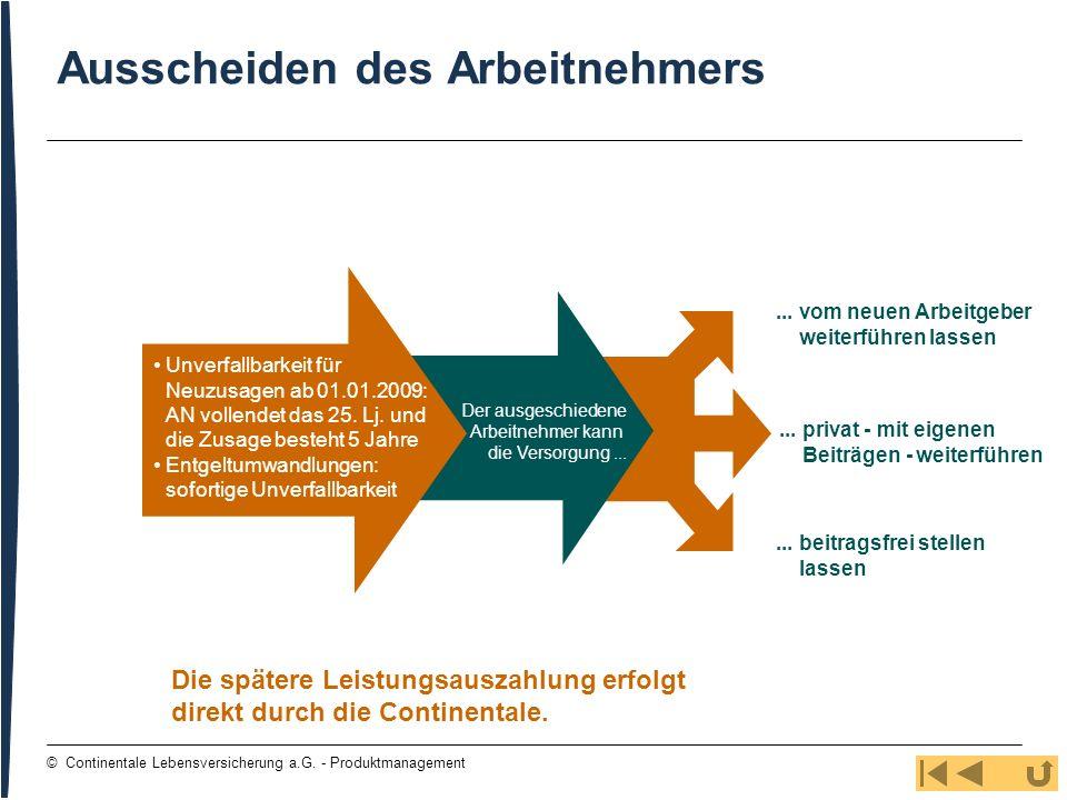 81 © Continentale Lebensversicherung a.G. - Produktmanagement Ausscheiden des Arbeitnehmers... vom neuen Arbeitgeber weiterführen lassen... privat - m