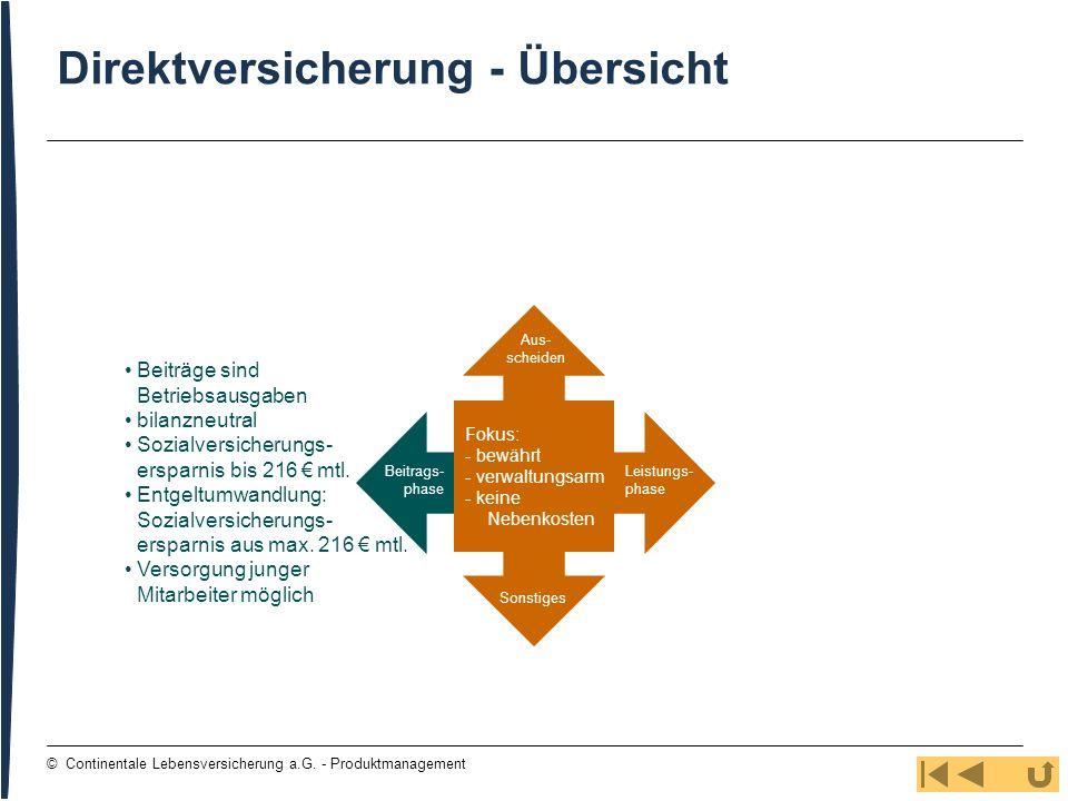 84 © Continentale Lebensversicherung a.G. - Produktmanagement Direktversicherung - Übersicht Beitrags- phase Aus- scheiden Leistungs- phase Sonstiges
