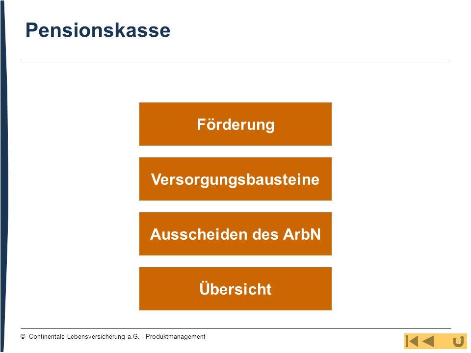 91 © Continentale Lebensversicherung a.G. - Produktmanagement Versorgungsbausteine Übersicht Ausscheiden des ArbN Förderung Pensionskasse
