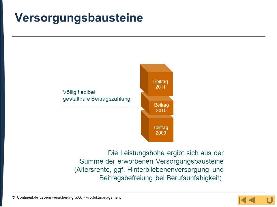 94 © Continentale Lebensversicherung a.G. - Produktmanagement Versorgungsbausteine Beitrag 2009 Beitrag 2010 Beitrag 2011 Die Leistungshöhe ergibt sic