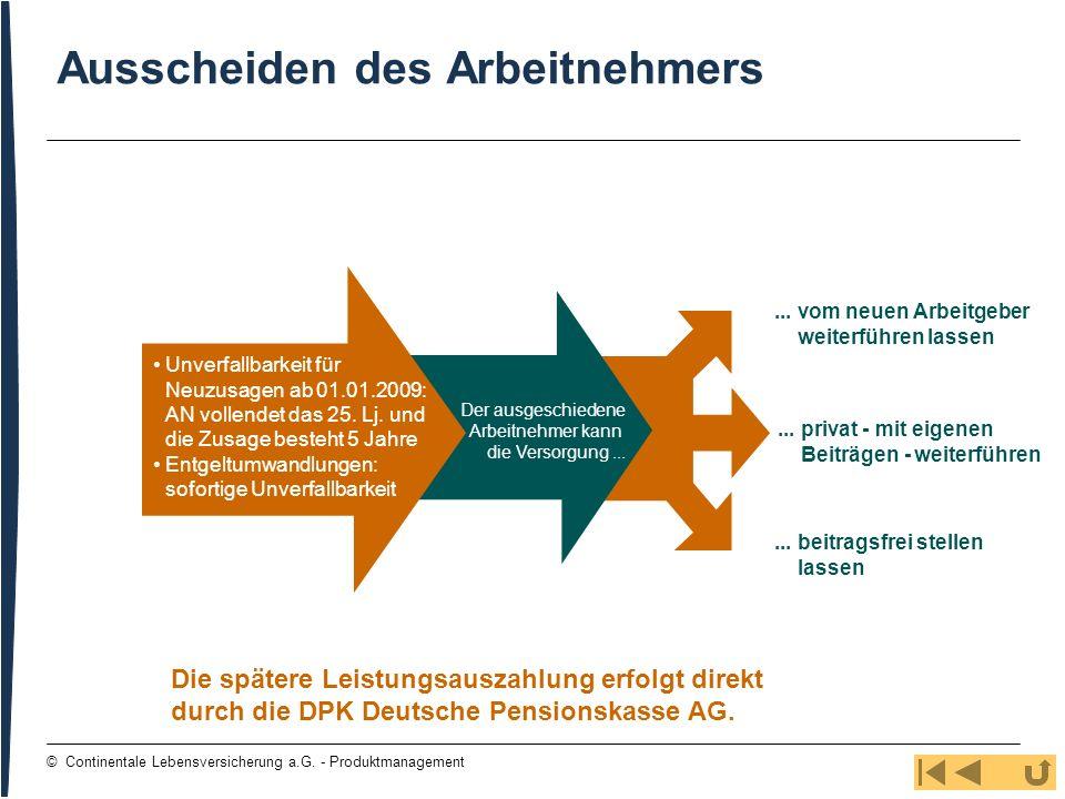 95 © Continentale Lebensversicherung a.G. - Produktmanagement Ausscheiden des Arbeitnehmers... vom neuen Arbeitgeber weiterführen lassen... privat - m