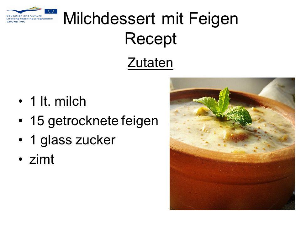 Milchdessert mit Feigen Recept Die getrockneten feigen werden in kleine würfeln geschnitten.