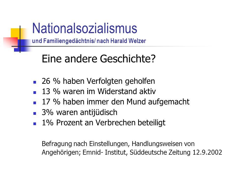 Nationalsozialismus und Familiengedächtnis/ nach Harald Welzer Eine andere Geschichte.