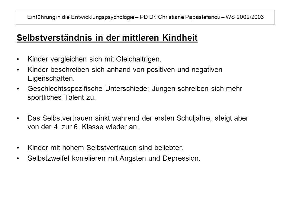 Einführung in die Entwicklungspsychologie – PD Dr. Christiane Papastefanou – WS 2002/2003 Selbstverständnis in der mittleren Kindheit Kinder vergleich