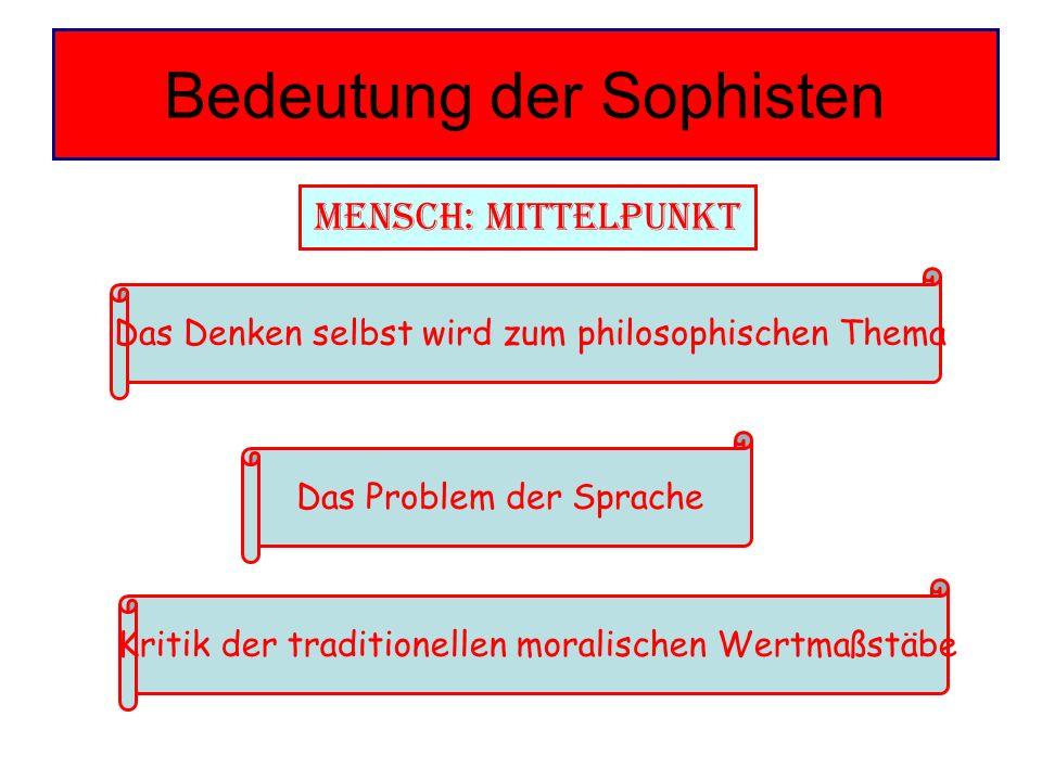 Bedeutung der Sophisten Mensch: Mittelpunkt Das Denken selbst wird zum philosophischen Thema Das Problem der Sprache Kritik der traditionellen moralis