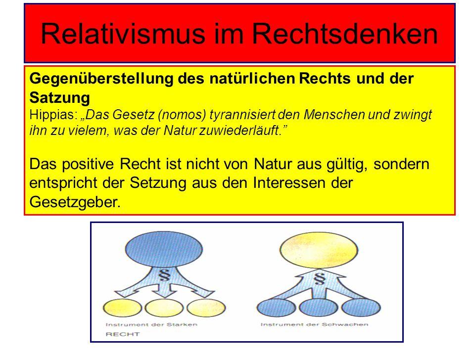 Relativismus im Rechtsdenken Gegenüberstellung des natürlichen Rechts und der Satzung Hippias: Das Gesetz (nomos) tyrannisiert den Menschen und zwingt