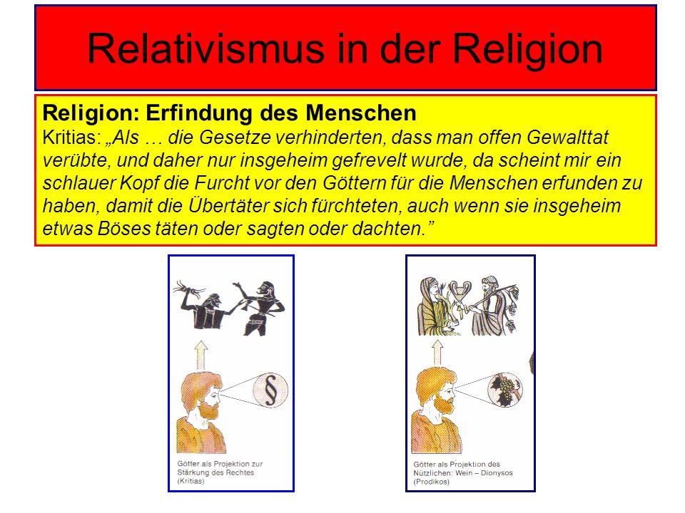 Relativismus in der Religion Religion: Erfindung des Menschen Kritias: Als … die Gesetze verhinderten, dass man offen Gewalttat verübte, und daher nur
