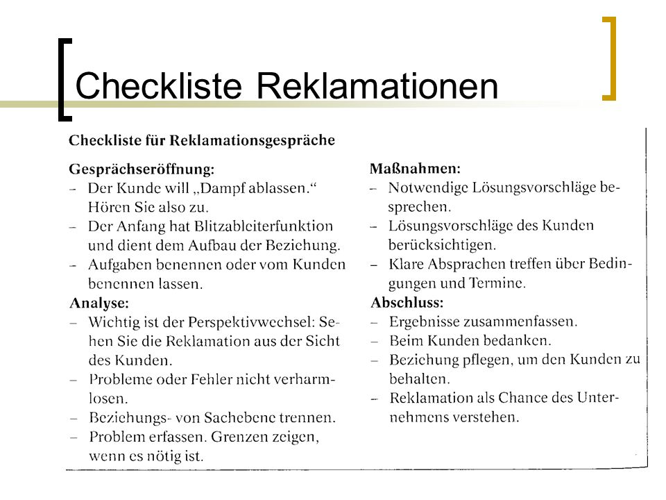 20 Checkliste Reklamationen
