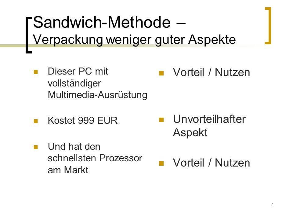 7 Sandwich-Methode – Verpackung weniger guter Aspekte Dieser PC mit vollständiger Multimedia-Ausrüstung Kostet 999 EUR Und hat den schnellsten Prozess
