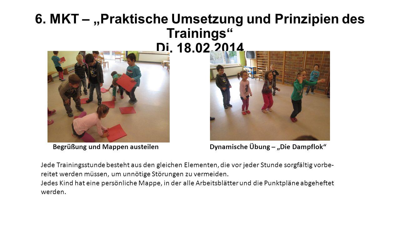 6. MKT – Praktische Umsetzung und Prinzipien des Trainings Di. 18.02.2014 Begrüßung und Mappen austeilen Dynamische Übung – Die Dampflok Jede Training