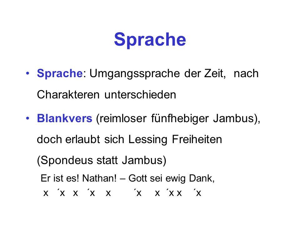 Sprache Sprache: Umgangssprache der Zeit, nach Charakteren unterschieden Blankvers (reimloser fünfhebiger Jambus), doch erlaubt sich Lessing Freiheite