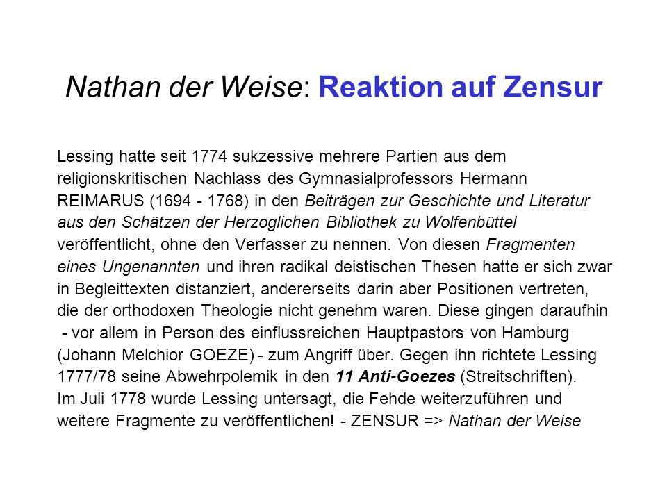 Nathan der Weise: Reaktion auf Zensur Lessing hatte seit 1774 sukzessive mehrere Partien aus dem religionskritischen Nachlass des Gymnasialprofessors