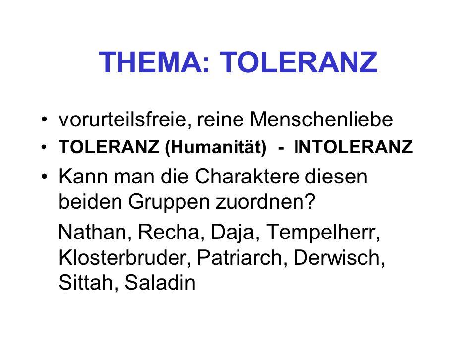 THEMA: TOLERANZ vorurteilsfreie, reine Menschenliebe TOLERANZ (Humanität) - INTOLERANZ Kann man die Charaktere diesen beiden Gruppen zuordnen? Nathan,