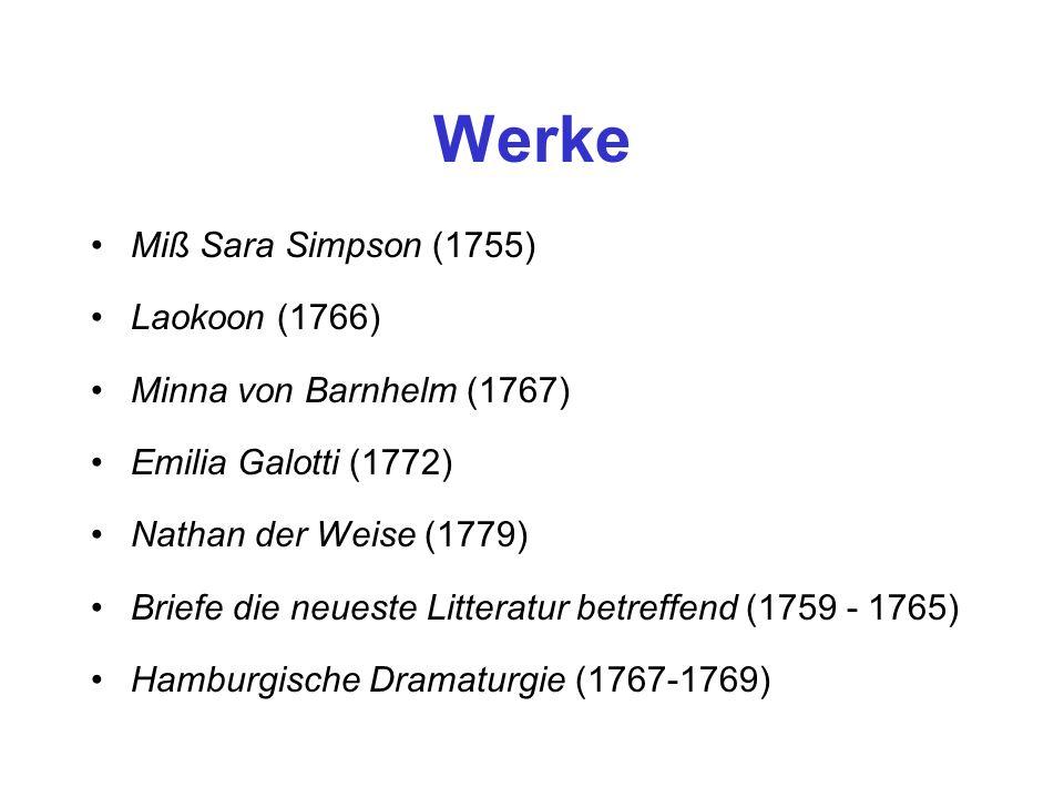 Werke Miß Sara Simpson (1755) Laokoon (1766) Minna von Barnhelm (1767) Emilia Galotti (1772) Nathan der Weise (1779) Briefe die neueste Litteratur bet