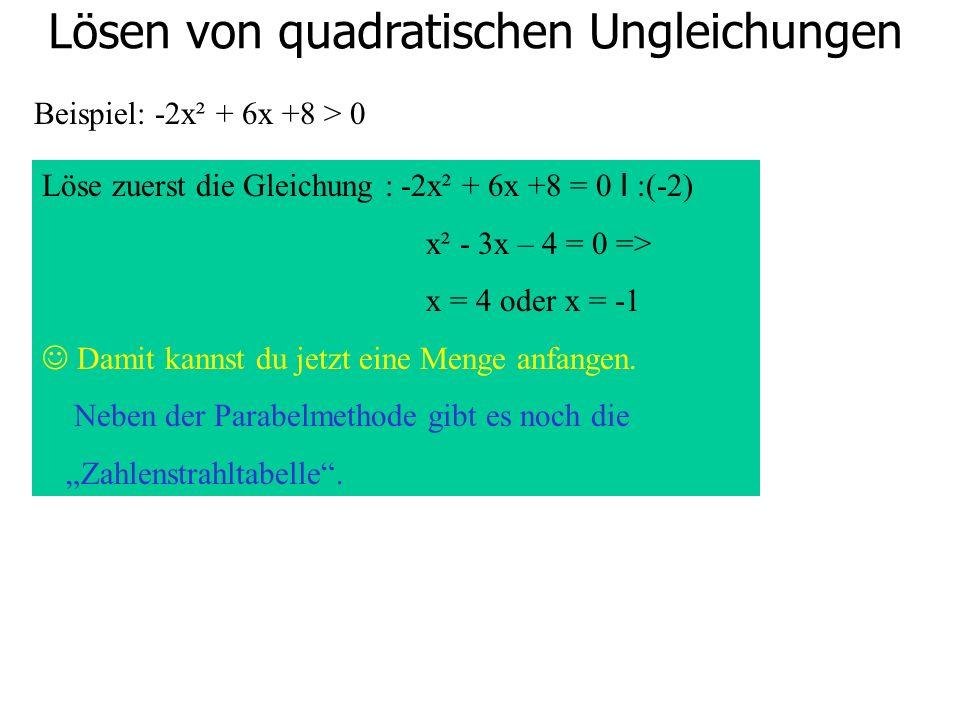 Lösen von quadratischen Ungleichungen Beispiel: -2x² + 6x +8 > 0 Löse zuerst die Gleichung : -2x² + 6x +8 = 0 I :(-2) x² - 3x – 4 = 0 => x = 4 oder x