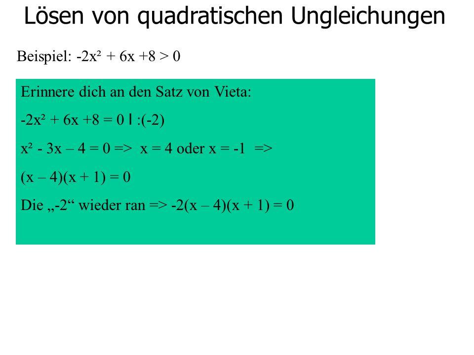 Lösen von quadratischen Ungleichungen Beispiel: -2x² + 6x +8 > 0 Erinnere dich an den Satz von Vieta: -2x² + 6x +8 = 0 I :(-2) x² - 3x – 4 = 0 => x =