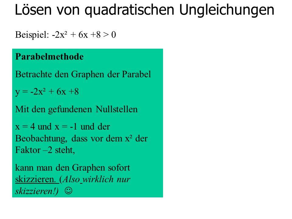 Lösen von quadratischen Ungleichungen Beispiel: -2x² + 6x +8 > 0 Parabelmethode Betrachte den Graphen der Parabel y = -2x² + 6x +8 Mit den gefundenen