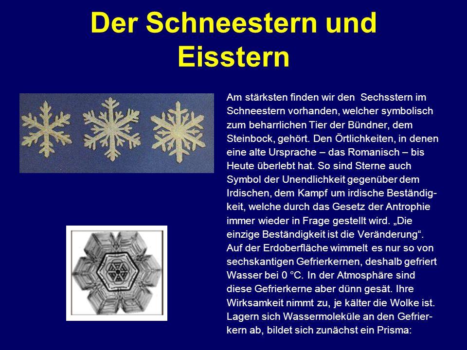 Der Schneestern und Eisstern Am stärksten finden wir den Sechsstern im Schneestern vorhanden, welcher symbolisch zum beharrlichen Tier der Bündner, de