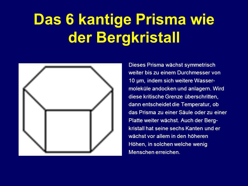 Das 6 kantige Prisma wie der Bergkristall Dieses Prisma wächst symmetrisch weiter bis zu einem Durchmesser von 10 µm, indem sich weitere Wasser- molek
