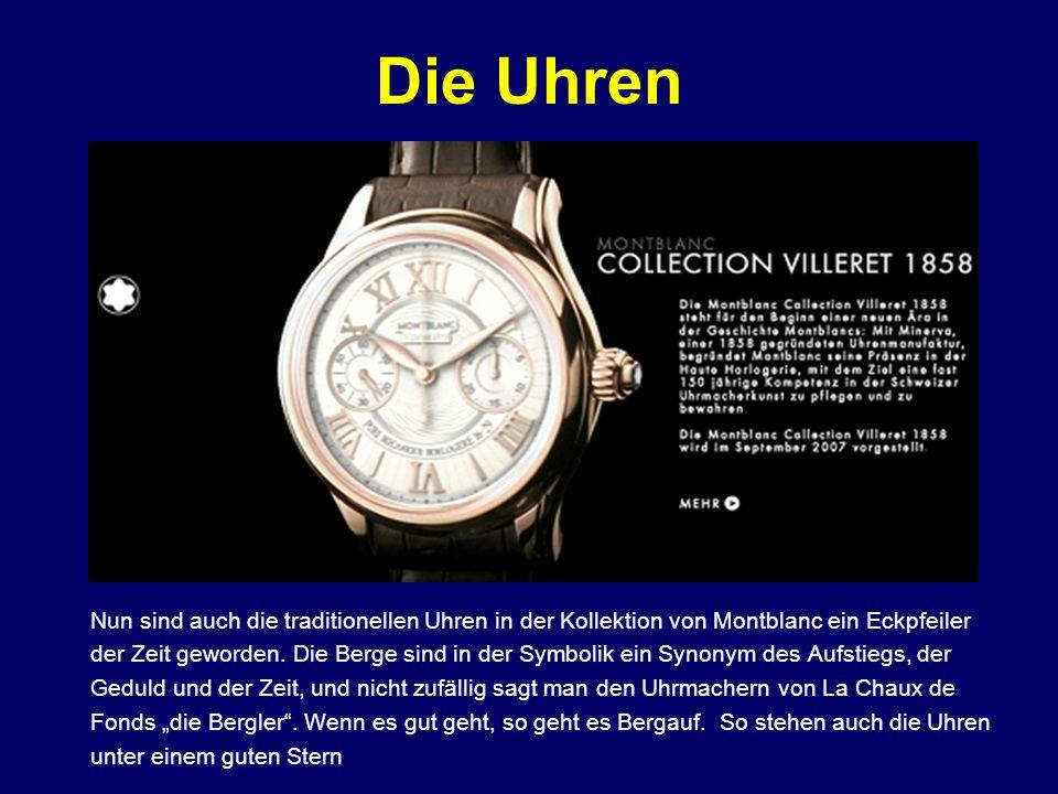 Die Uhren Nun sind auch die traditionellen Uhren in der Kollektion von Montblanc ein Eckpfeiler der Zeit geworden. Die Berge sind in der Symbolik ein