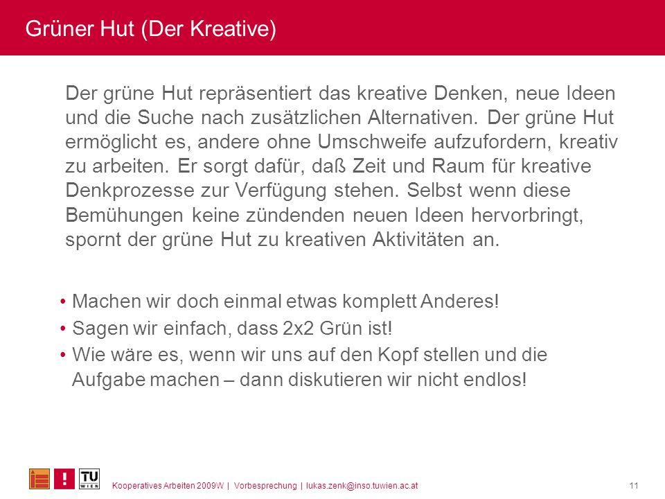 Kooperatives Arbeiten 2009W | Vorbesprechung | lukas.zenk@inso.tuwien.ac.at11 Grüner Hut (Der Kreative) Der grüne Hut repräsentiert das kreative Denken, neue Ideen und die Suche nach zusätzlichen Alternativen.