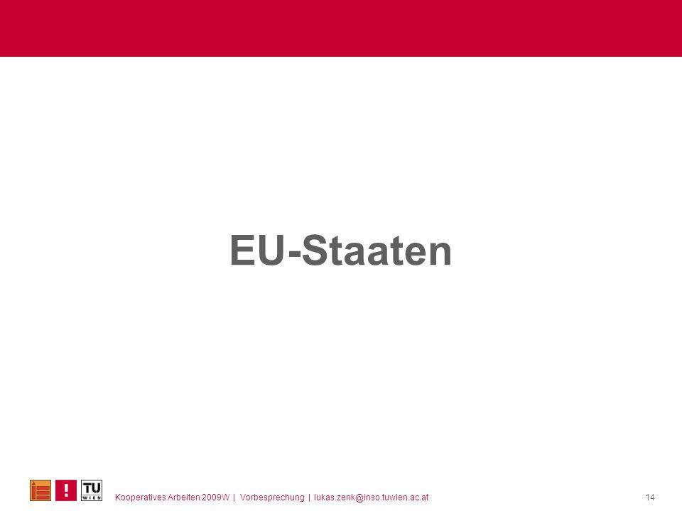 Kooperatives Arbeiten 2009W | Vorbesprechung | lukas.zenk@inso.tuwien.ac.at EU-Staaten 14