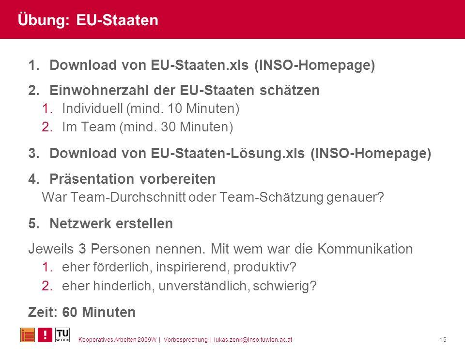 Kooperatives Arbeiten 2009W | Vorbesprechung | lukas.zenk@inso.tuwien.ac.at15 Übung: EU-Staaten 1.Download von EU-Staaten.xls (INSO-Homepage) 2.Einwohnerzahl der EU-Staaten schätzen 1.Individuell (mind.