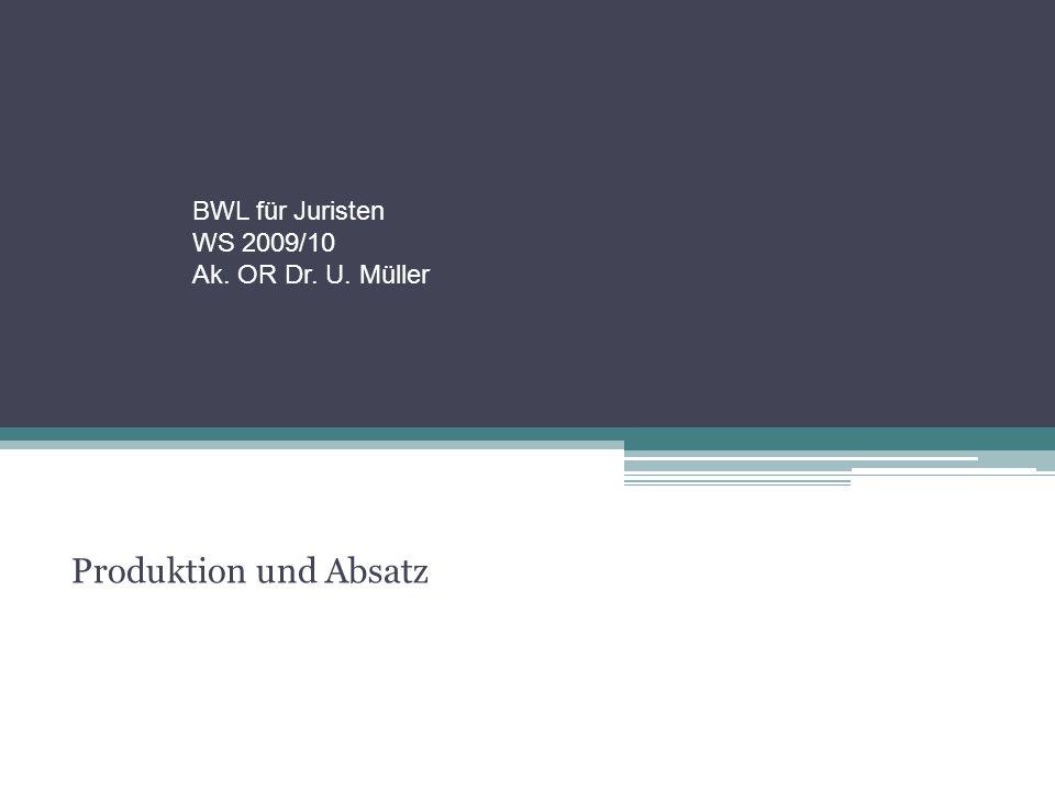BWL für Juristen WS 2009/10 Ak. OR Dr. U. Müller Produktion und Absatz