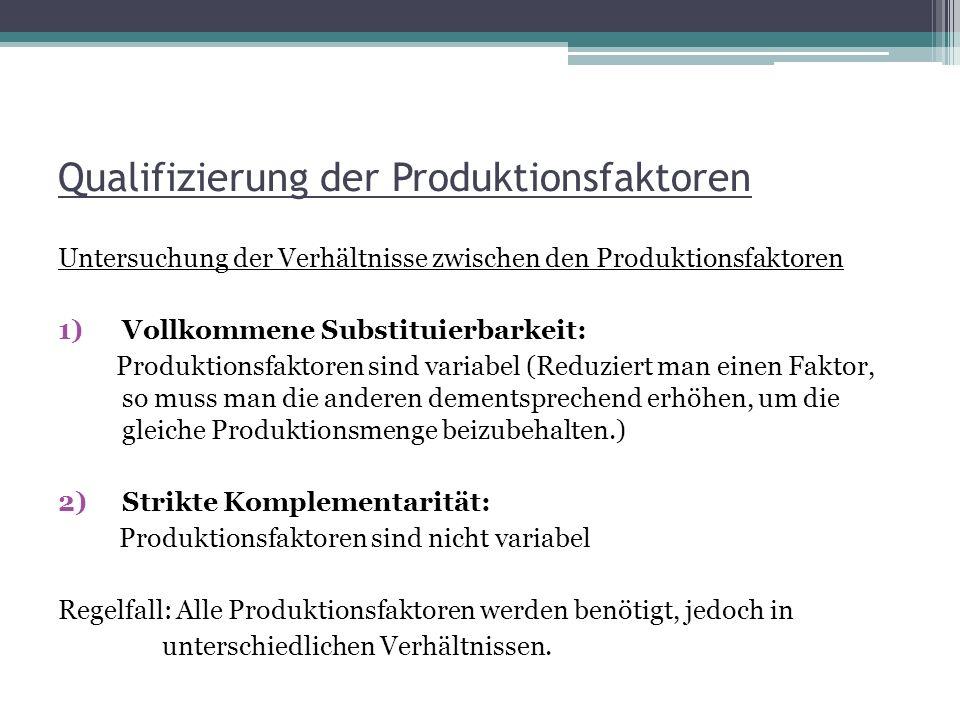 Qualifizierung der Produktionsfaktoren Untersuchung der Verhältnisse zwischen den Produktionsfaktoren 1)Vollkommene Substituierbarkeit: Produktionsfak